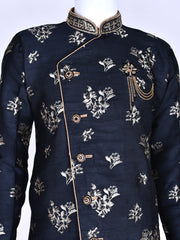 Black Brocade Silk Kurta Pyjama