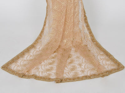 Peach Netting Embroidered Dupatta