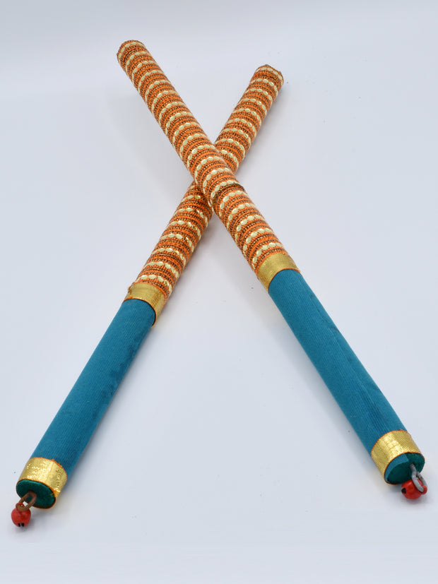Orange & Teal Garba Wooden Dandiya