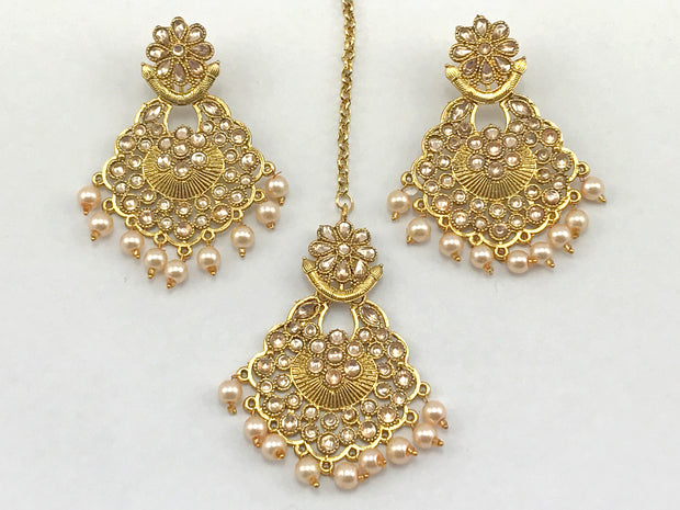 Gold Costume Earrings With Tikka
