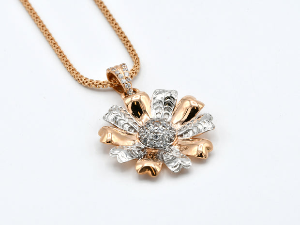 18ct Rose Gold Rhd CZ Flower Pendant Earrings Set