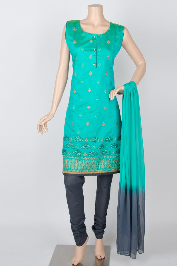 Turquoise and Grey Embroidery Cotton Silk Straight Churidar