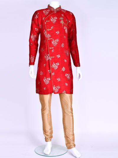 Red Brocade Silk Kurta Pyjama
