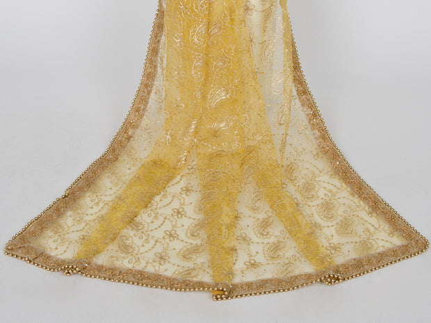 Yellow Netting Embroidered Dupatta