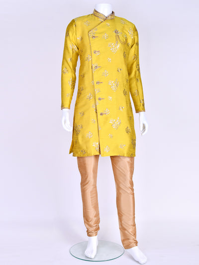 Yellow Brocade Silk Kurta Pyjama