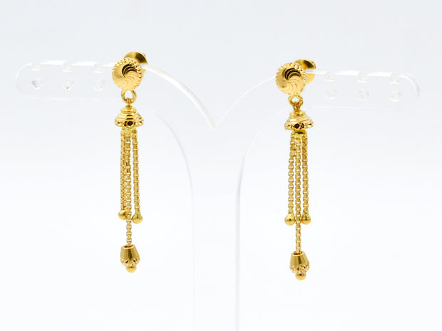 22ct Gold Drop Earrings With Ball Hanging