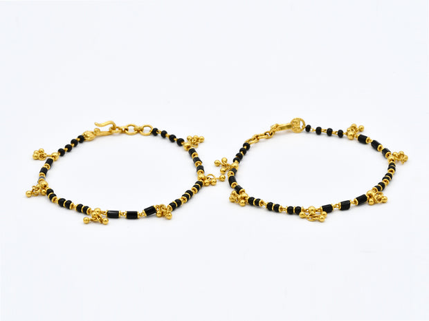 22ct Gold with Black Beads 2PC Baby Bracelets