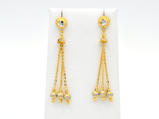 22ct Gold Two Tone Drop Earrings With Ball Hanging