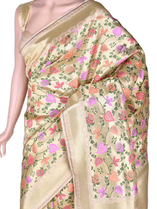 Stunning Brocade Silk Saree in Cream
