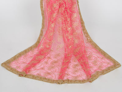 Pink Netting Embroidered Dupatta