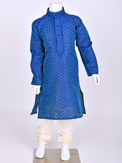 Blue Weaved Silk Kurta Pyjama