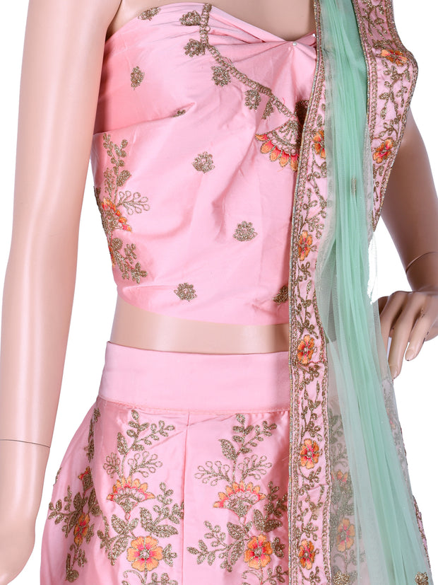 Dusty Pink Silk Embroidered Unstitched Lehenga Choli