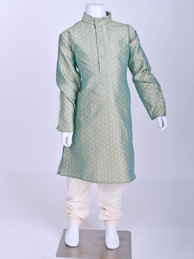 Sea Green Weaved Silk Kurta Pyjama