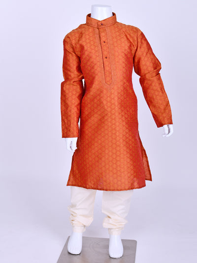 Rusty Orange Weaved Silk Kurta Pyjama