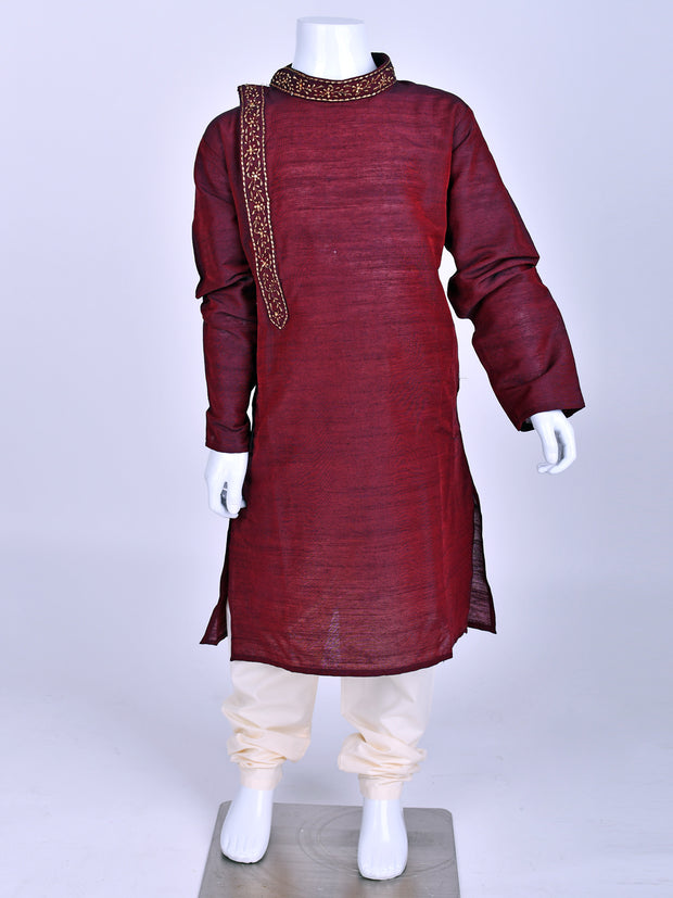 Wine Embroidered Kurta Pyjama