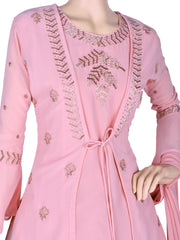 Stunning Georgette Flair Churidar In Baby Pink