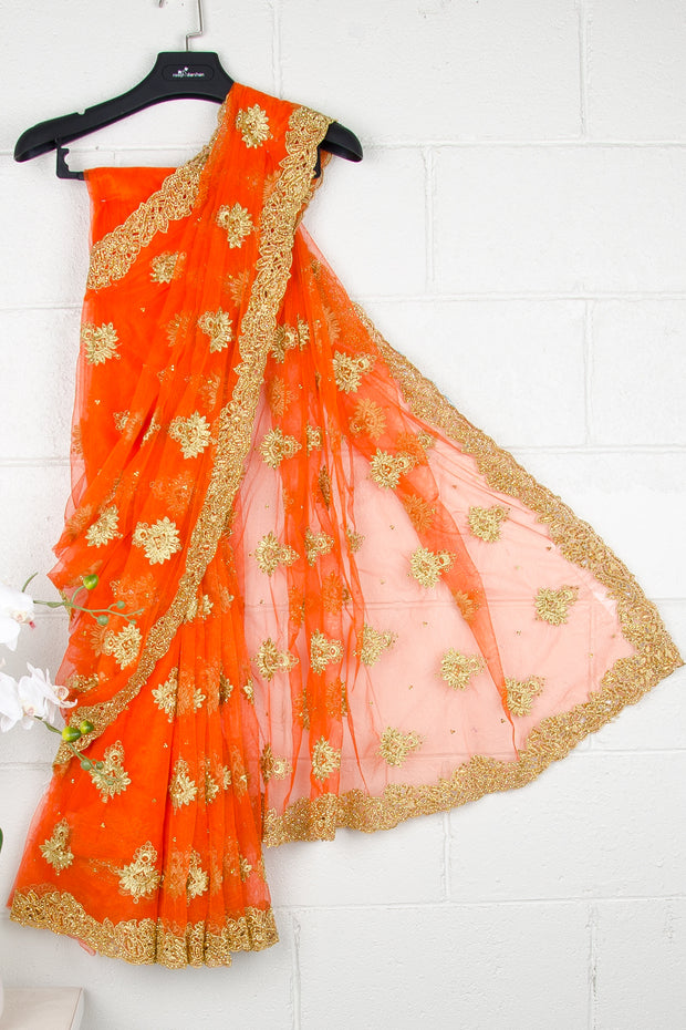 Orange Nett Sequins Saree