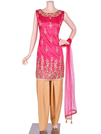 Pink Silk Embroidered Patiala Suit