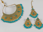 Gold and Light Blue Pearl Choker Costume Necklace Set