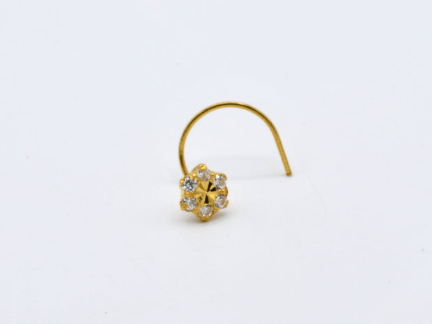 22ct Gold CZ Nose Pin - 4 mm