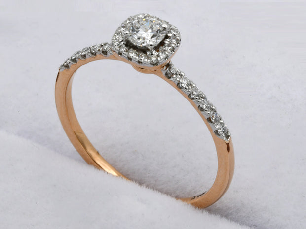 18ct Rose Gold 0.319ct Halo Diamond Ring