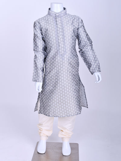 Light Grey Weaved Silk Kurta Pyjama