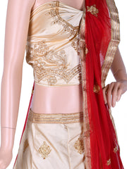 Cream & Maroon Silk Unstitched Lehenga Choli