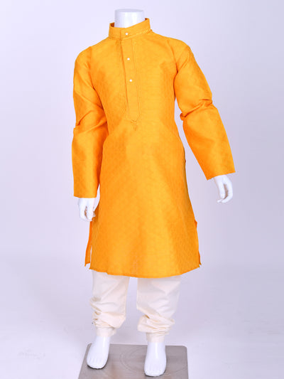 Yellow Weaved Silk Kurta Pyjama