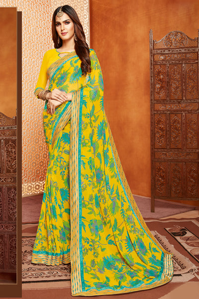 Stylish Georgette Floral Printed Yellow Saree