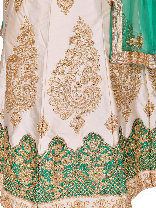 Cream & Green Silk Unstitched Lehenga Choli