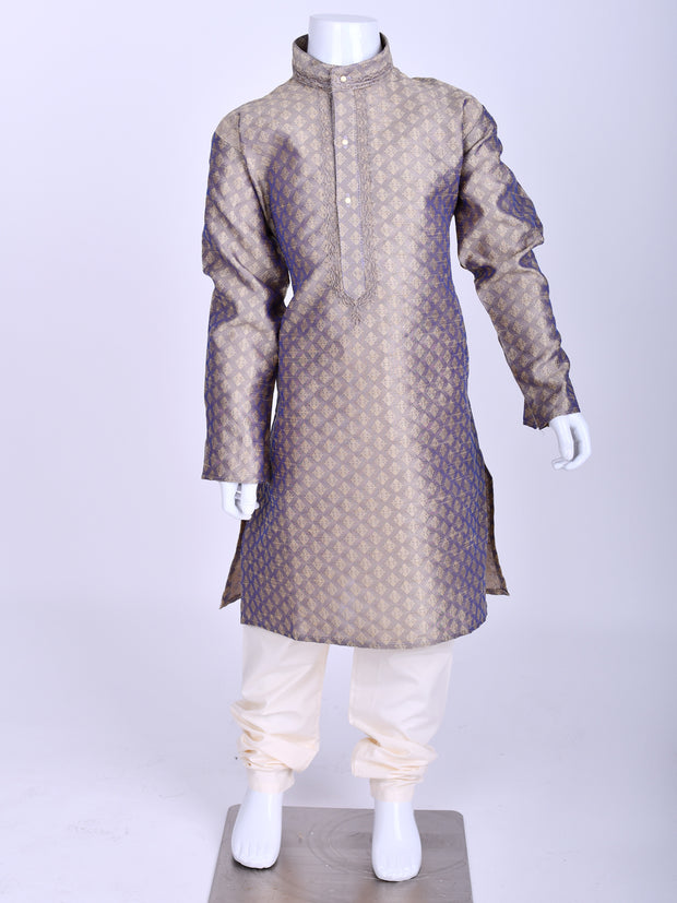 Lilac Weaved Silk Kurta Pyjama