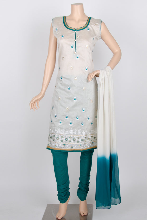 Greyish White and Green Embroidery Cotton Silk Straight Churidar