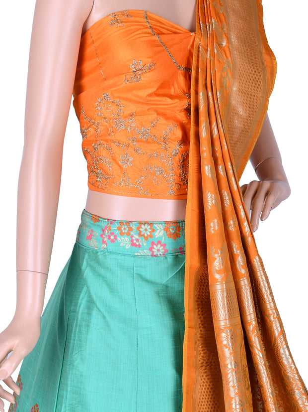 Pista Green & Orange Silk Unstitched Lehenga Choli