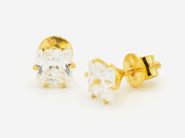 22ct Gold Cubic Zirconia Square Stud Earrings