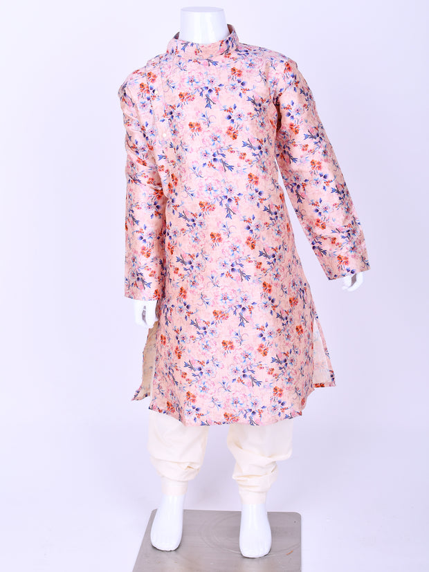 Light Pink Floral Printed Silk Kurta Pyjama