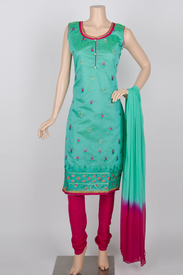 Turquoise and Pink Embroidery Cotton Silk Straight Churidar