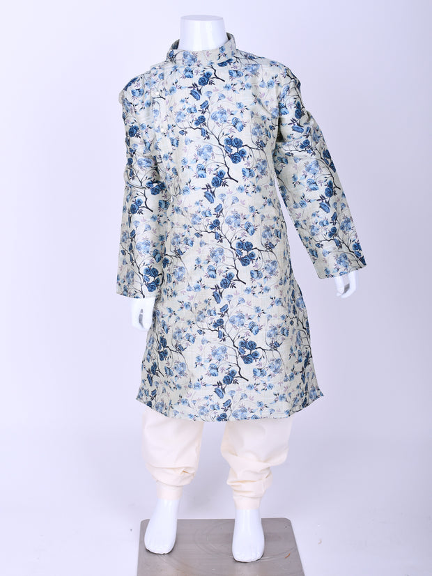 Sea Blue Floral Printed Silk Kurta Pyjama