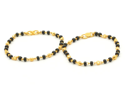 22ct Gold with Black Beads Baby Bracelets