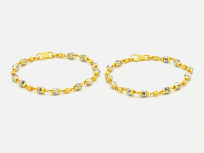 22ct Gold Crystal Beads Baby Bracelets (Pair)