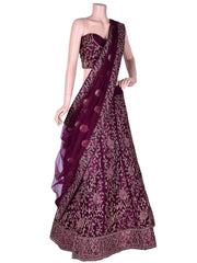 Purple Nett Embroidered Unstitched Lehenga Choli
