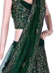 Bottle Green Silk Embroidered Unstitched Lehenga Choli