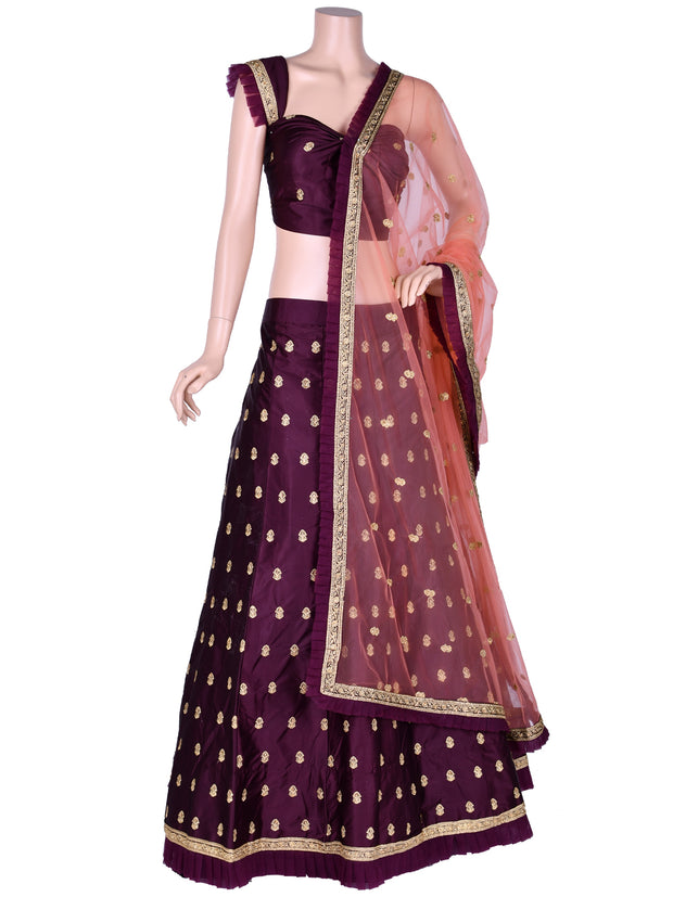 Wine Silk Embroidered Unstitched Lehenga Choli