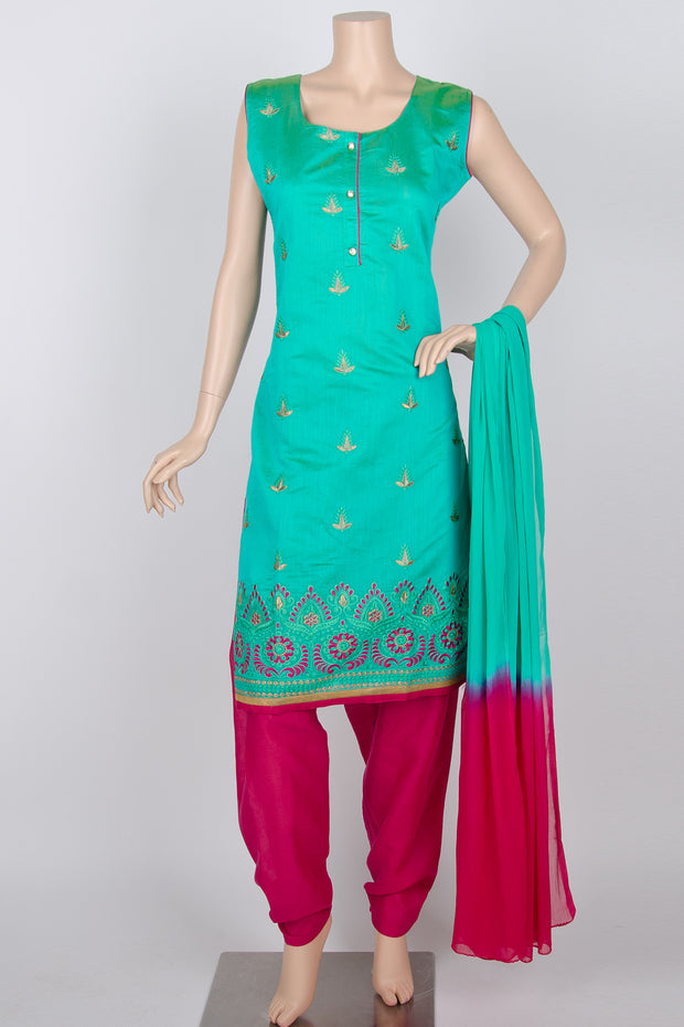 Turquoise and Pink Embroidery Cotton Silk Straight Salwar Kameez