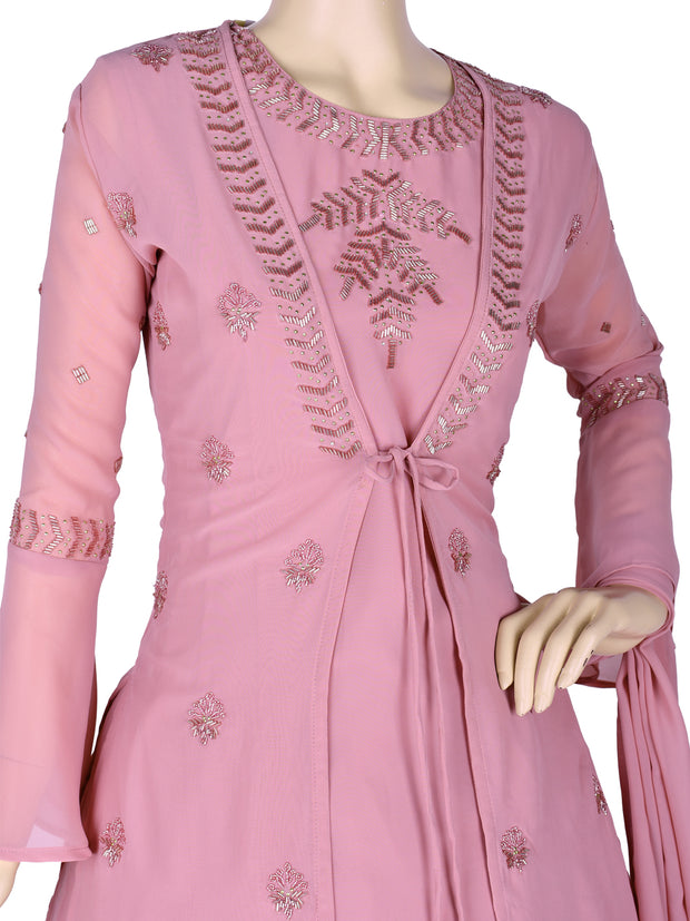 Stunning Georgette Flair Churidar In Blush Pink