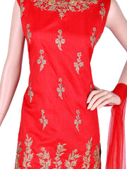 Red Silk Embroidered Patiala Suit
