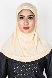 Soft Cream Lace Lycra Stone Touch Hijab - Roop Darshan