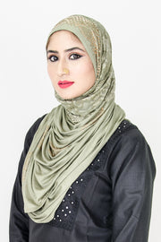 Soft Green Lace Lycra Stone Touch Hijab - Roop Darshan