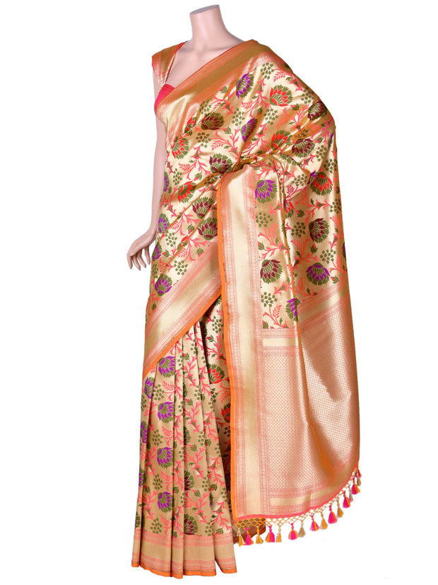 Stunning Brocade Silk Saree in Orange
