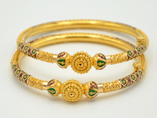 22ct Gold 2 Piece Mina Screw Bangles