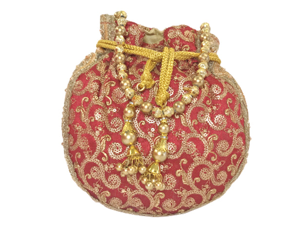 Maroon with Gold Embroidered Potli Bag